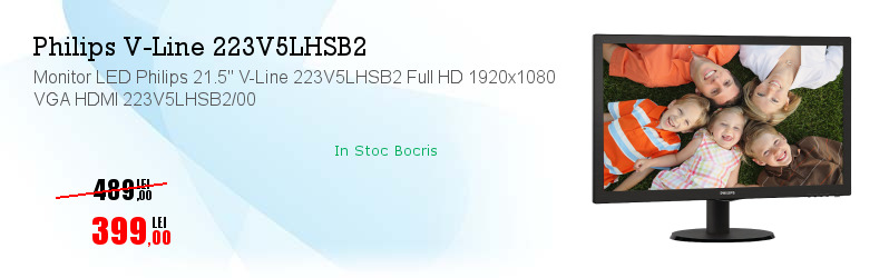 "Monitor LED Philips 21.5"" V-Line 223V5LHSB2 Full HD 1920x1080 VGA HDMI 223V5LHSB2/00"