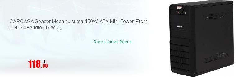 CARCASA Spacer Moon cu sursa 450W, ATX Mini-Tower, Front USB2.0+Audio, (Black),
