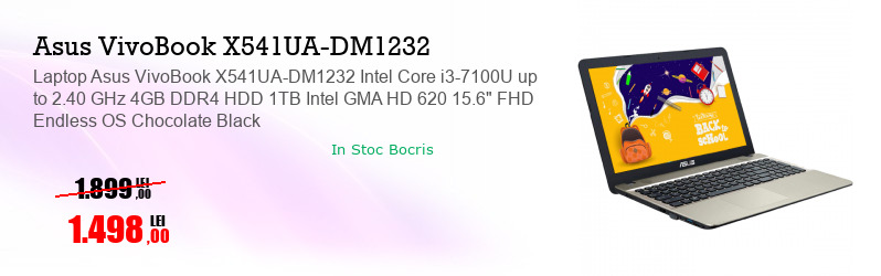 "Laptop Asus VivoBook X541UA-DM1232 Intel Core i3-7100U up to 2.40 GHz 4GB DDR4 HDD 1TB Intel GMA HD 620 15.6"" FHD Endless OS Chocolate Black"