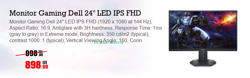 Monitor Gaming Dell 24'' LED IPS FHD (1920 x 1080 at 144 Hz), Aspect Ratio: 16:9, Antiglare with 3H hardness, Response Time: 1ms (gray to gray) in Extreme mode, Brightness: 350 cd/m2 (typical), contrast 1000: 1 (typical), Vertical Viewing Angle: 160, Conn