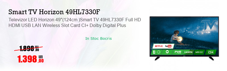 "Televizor LED Horizon 49""(124cm )Smart TV 49HL7330F Full HD HDMI USB LAN Wireless Slot Card CI+ Dolby Digital Plus"