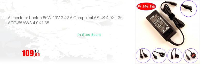 Alimentator Laptop 65W 19V 3.42 A Compatibil ASUS 4.0X1.35 ADP-65AWA 4.0X1.35