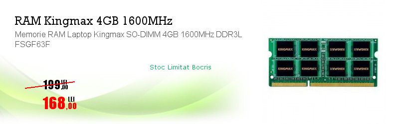 Memorie RAM Laptop Kingmax SO-DIMM 4GB 1600MHz DDR3L FSGF63F