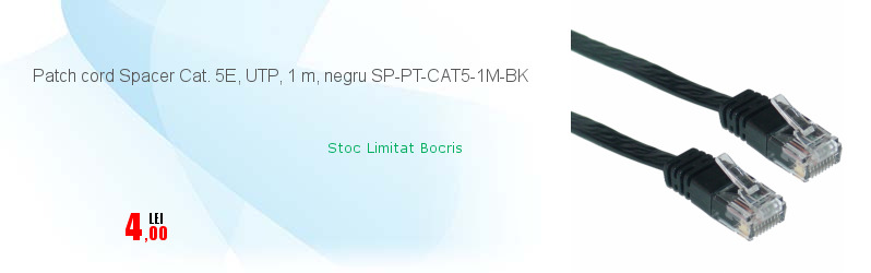 Patch cord Spacer Cat. 5E, UTP, 1 m, negru SP-PT-CAT5-1M-BK