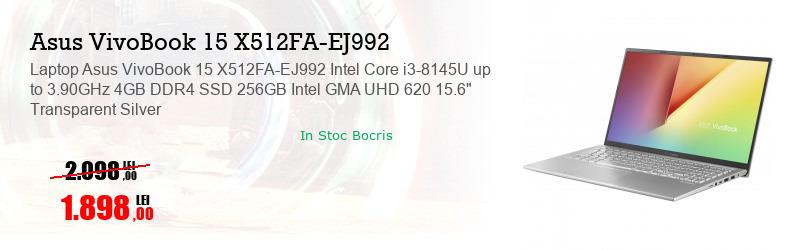"Laptop Asus VivoBook 15 X512FA-EJ992 Intel Core i3-8145U up to 3.90GHz 4GB DDR4 SSD 256GB Intel GMA UHD 620 15.6"" Transparent Silver"