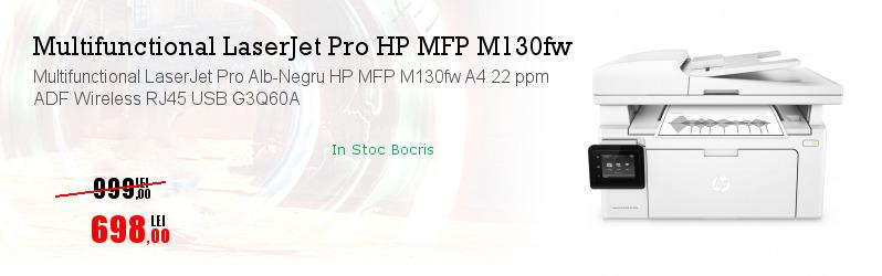 Multifunctional LaserJet Pro Alb-Negru HP MFP M130fw A4 22 ppm ADF Wireless RJ45 USB G3Q60A