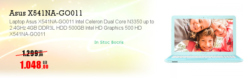 Laptop Asus X541NA-GO011 Intel Celeron Dual Core N3350 up to 2.4GHz 4GB DDR3L HDD 500GB Intel HD Graphics 500 HD X541NA-GO011
