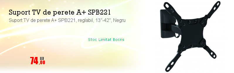 "Suport TV de perete A+ SPB221, reglabil, 13""-42"", Negru"