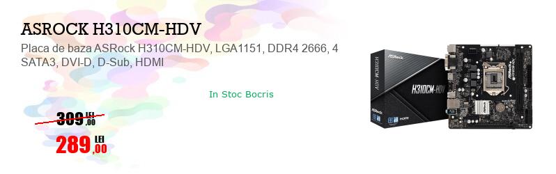 Placa de baza ASRock H310CM-HDV, LGA1151, DDR4 2666, 4 SATA3, DVI-D, D-Sub, HDMI