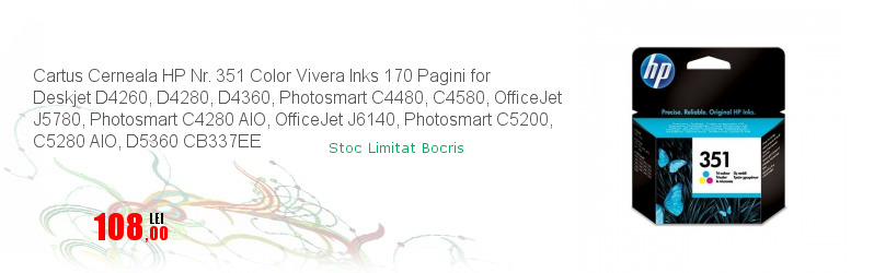 Cartus Cerneala HP Nr. 351 Color Vivera Inks 170 Pagini for Deskjet D4260, D4280, D4360, Photosmart C4480, C4580, OfficeJet J5780, Photosmart C4280 AIO, OfficeJet J6140, Photosmart C5200, C5280 AIO, D5360 CB337EE