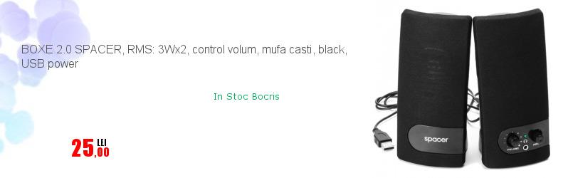 BOXE 2.0 SPACER, RMS: 3Wx2, control volum, mufa casti, black, USB power