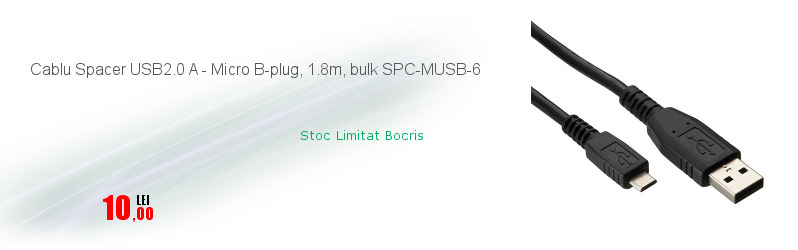 Cablu Spacer USB2.0 A - Micro B-plug, 1.8m, bulk SPC-MUSB-6