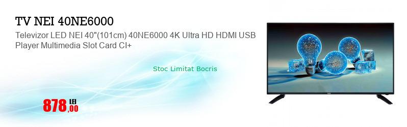 """Televizor LED NEI 40""""(101cm) 40NE6000 4K Ultra HD HDMI USB Player Multimedia Slot Card CI+"""