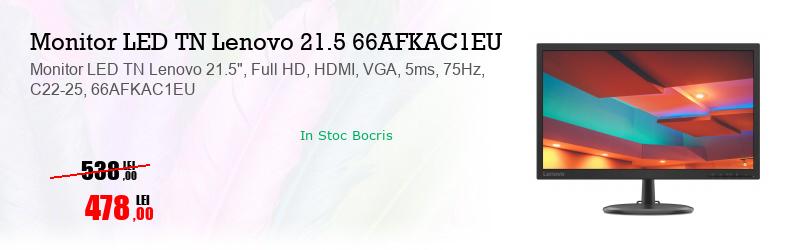 "Monitor LED TN Lenovo 21.5"", Full HD, HDMI, VGA, 5ms, 75Hz, C22-25, 66AFKAC1EU"