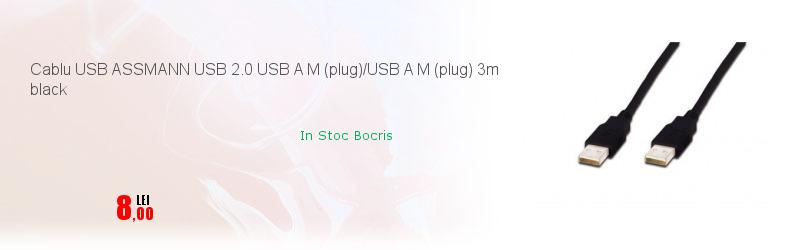 Cablu USB ASSMANN USB 2.0 USB A M (plug)/USB A M (plug) 3m black