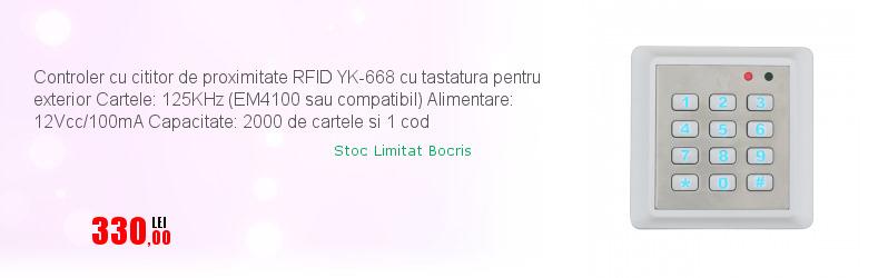 Controler cu cititor de proximitate RFID YK-668 cu tastatura pentru exterior Cartele: 125KHz (EM4100 sau compatibil) Alimentare: 12Vcc/100mA Capacitate: 2000 de cartele si 1 cod