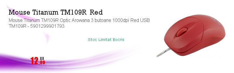 Mouse Titanum TM109R Optic Arowana 3 butoane 1000dpi Red USB TM109R - 5901299901793