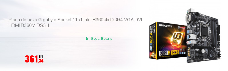 Placa de baza Gigabyte Socket 1151 Intel B360 4x DDR4 VGA DVI HDMI B360M DS3H