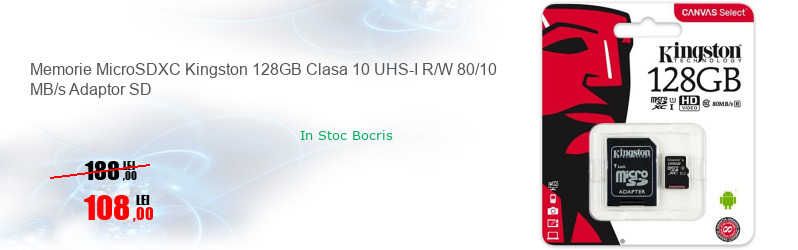 Memorie MicroSDXC Kingston 128GB Clasa 10 UHS-I R/W 80/10 MB/s Adaptor SD