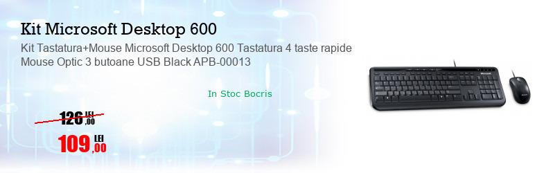 Kit Tastatura+Mouse Microsoft Desktop 600 Tastatura 4 taste rapide Mouse Optic 3 butoane USB Black APB-00013