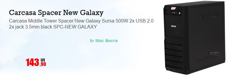 Carcasa Middle Tower Spacer New Galaxy Sursa 500W 2x USB 2.0 2x jack 3.5mm black SPC-NEW GALAXY