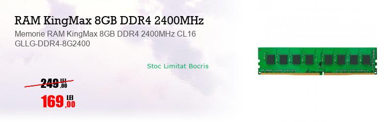 Memorie RAM KingMax 8GB DDR4 2400MHz CL16 GLLG-DDR4-8G2400