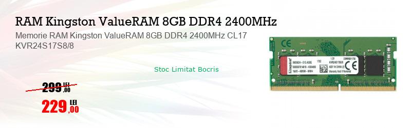 Memorie RAM Kingston ValueRAM 8GB DDR4 2400MHz CL17 KVR24S17S8/8