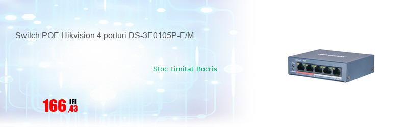 Switch POE Hikvision 4 porturi DS-3E0105P-E/M