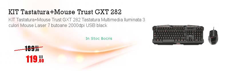 KIT Tastatura+Mouse Trust GXT 282 Tastatura Multimedia Iluminata 3 culori Mouse Laser 7 butoane 2000dpi USB black