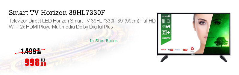 "Televizor Direct LED Horizon Smart TV 39HL7330F 39""(99cm) Full HD WiFi 2x HDMI PlayerMultimedia Dolby Digital Plus"