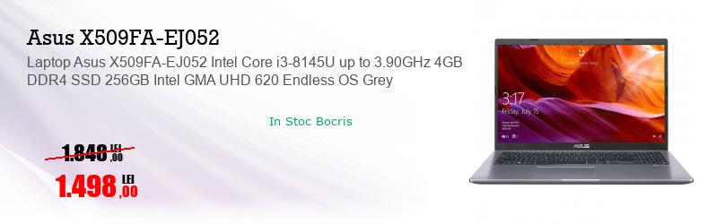 Laptop Asus X509FA-EJ052 Intel Core i3-8145U up to 3.90GHz 4GB DDR4 SSD 256GB Intel GMA UHD 620 Endless OS Grey