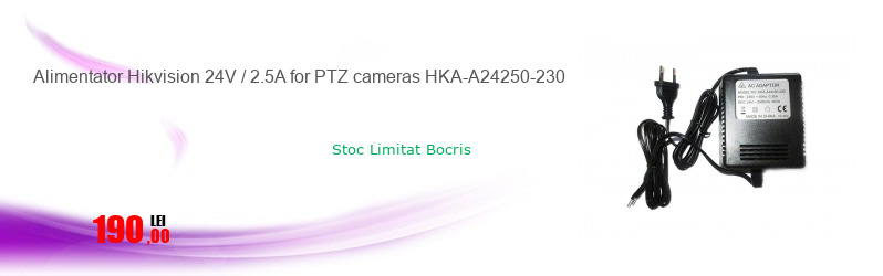Alimentator Hikvision 24V / 2.5A for PTZ cameras HKA-A24250-230
