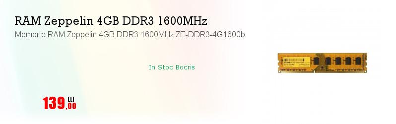Memorie RAM Zeppelin 4GB DDR3 1600MHz ZE-DDR3-4G1600b