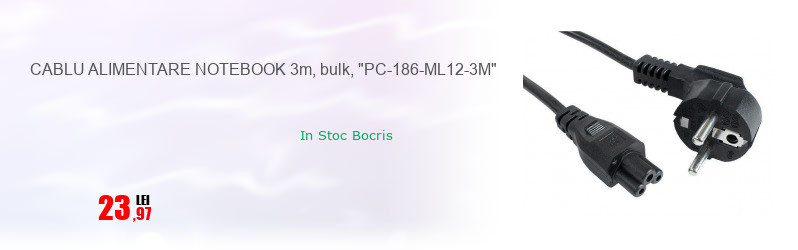 "CABLU ALIMENTARE NOTEBOOK 3m, bulk, ""PC-186-ML12-3M"""