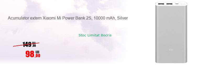 Acumulator extern Xiaomi Mi Power Bank 2S, 10000 mAh, Silver