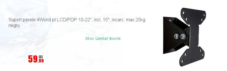 Suport perete 4World pt LCD/PDP 10-22'', incl. 15°, incarc. max 20kg negru