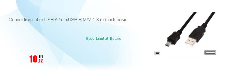 Connection cable USB A /miniUSB B M/M 1.8 m black basic
