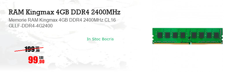Memorie RAM Kingmax 4GB DDR4 2400MHz CL16 GLLF-DDR4-4G2400