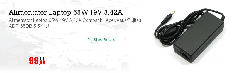 Alimentator Laptop 65W 19V 3,42A Compatibil Acer/Asus/Fujitsu ADP-65DB 5.5X1.7
