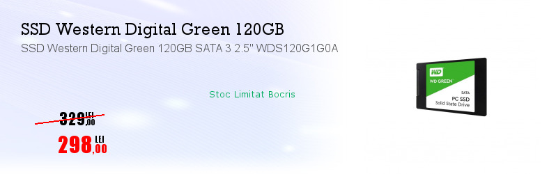 "SSD Western Digital Green 120GB SATA 3 2.5"" WDS120G1G0A"