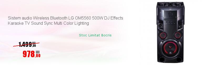 Sistem audio Wireless Bluetooth LG OM5560 500W DJ Effects Karaoke TV Sound Sync Multi Color Lighting