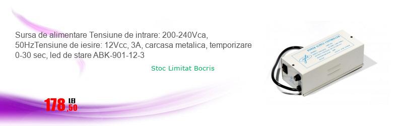 Sursa de alimentare Tensiune de intrare: 200-240Vca, 50HzTensiune de iesire: 12Vcc, 3A, carcasa metalica, temporizare 0-30 sec, led de stare ABK-901-12-3