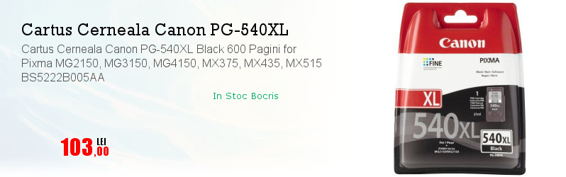 Cartus Cerneala Canon PG-540XL Black 600 Pagini for Pixma MG2150, MG3150, MG4150, MX375, MX435, MX515 BS5222B005AA