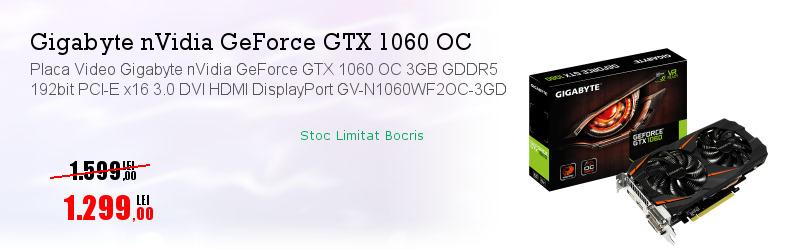 Placa Video Gigabyte nVidia GeForce GTX 1060 OC 3GB GDDR5 192bit PCI-E x16 3.0 DVI HDMI DisplayPort GV-N1060WF2OC-3GD