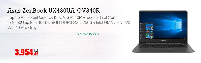 Laptop Asus ZenBook UX430UA-GV340R Procesor Intel Core i5-8250U up to 3.40 GHz 8GB DDR3 SSD 256GB Intel GMA UHD 620 Win 10 Pro Grey