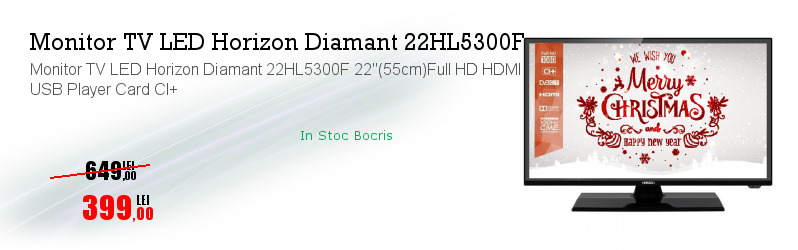 "Monitor TV LED Horizon Diamant 22HL5300F 22""(55cm)Full HD HDMI USB Player Card CI+"