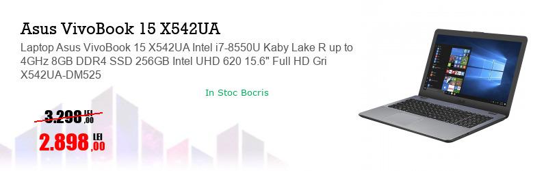 """Laptop Asus VivoBook 15 X542UA Intel i7-8550U Kaby Lake R up to 4GHz 8GB DDR4 SSD 256GB Intel UHD 620 15.6"""" Full HD Gri X542UA-DM525"""
