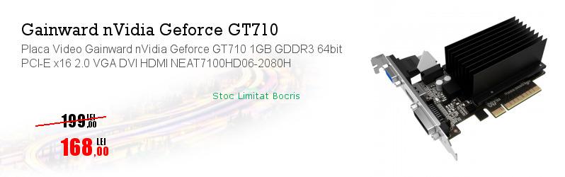 Placa Video Gainward nVidia Geforce GT710 1GB GDDR3 64bit PCI-E x16 2.0 VGA DVI HDMI NEAT7100HD06-2080H