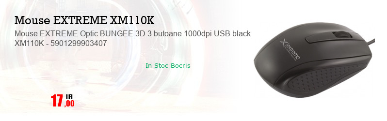 Mouse EXTREME Optic BUNGEE 3D 3 butoane 1000dpi USB black XM110K - 5901299903407