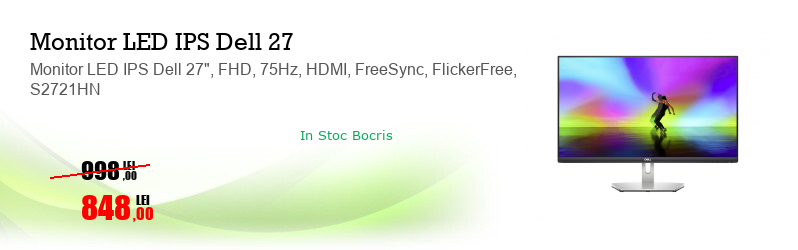 "Monitor LED IPS Dell 27"", FHD, 75Hz, HDMI, FreeSync, FlickerFree, S2721HN"